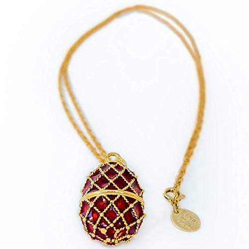 Keren Kopal Red Fabrege Styled Pendant Necklace Decorated for sale  Delivered anywhere in USA
