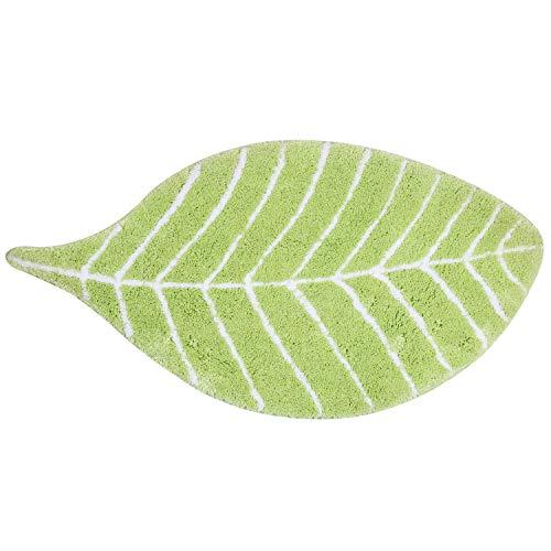 U'Artlines Green Leaf Design Doormat Bath mat Nursery Mat for Kids Microfiber Bathroom Mats (37.4