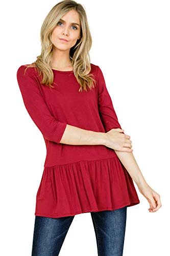 Annabelle Women's Plus Size Top Featuring Solid Round Boat Neck 3/4 Sleeve Ruffle Hem Tunic Loose Viscose Fabric Berry XX-Large T1316PK