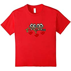 Kids 2 Owls My Valentine Day T-Shirt For Kids Girls Boys Adults 6 Red