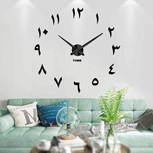Vangold Large DIY Wall Clock, 2-Year Warranty Modern 3D Wall Clock with Arabic Numerals for Home Office Decorations Gift Black