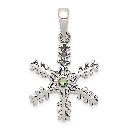 925 Sterling Silver Antique Snowflake Green Stone Pendant Charm Necklace Winter Fine Jewelry Gifts For Women For Her