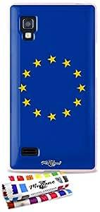 Carcasa Flexible Ultra-Slim LG L9 de exclusivo motivo [Bandera Unión Europea] [Rosa] de MUZZANO  + ESTILETE y PAÑO MUZZANO REGALADOS - La Protección Antigolpes ULTIMA, ELEGANTE Y DURADERA para su LG L9