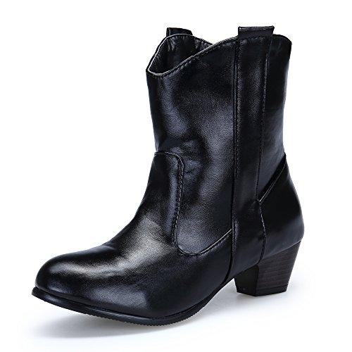 DAFENP Damen Pumps Chelsea Boots Stiefeletten Chunky High Heels Blockabsatz Schuhe