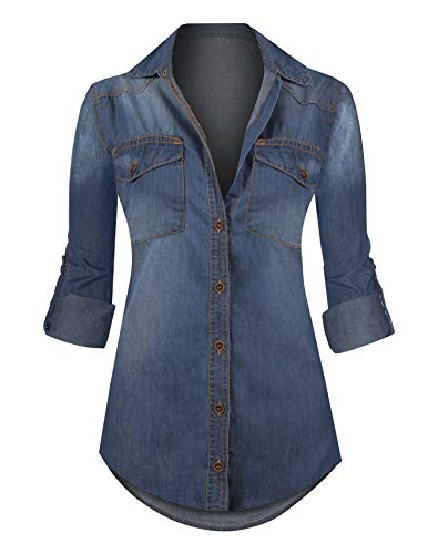 HOT FROM HOLLYWOOD Women's Button Down Roll up Sleeve Classic Denim Shirt Tops Classic Denim Button Down Shirt