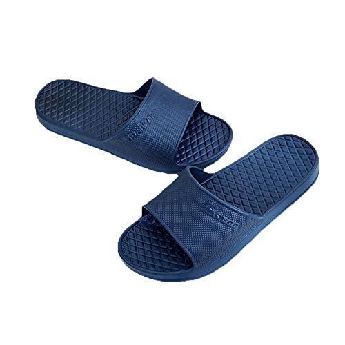 Tellw Zapatillas De Baño Antideslizantes Simples Zapatillas De Casa Resistentes Al Desgaste De Las Mujeres Azul