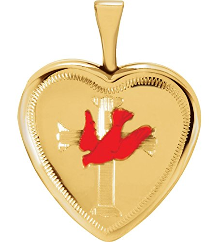 Yellow Gold Plate Sterling Silver Cross and Red Dove Heart Locket by The Men's Jewelry Store (for HER)
