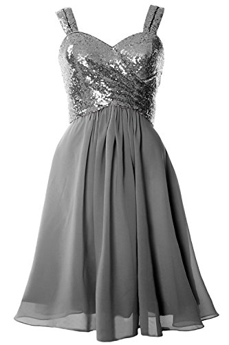 MACloth Gorgeous Sequin Short Bridesmaid Dress Cowl Back Cocktail Formal Gown Gris