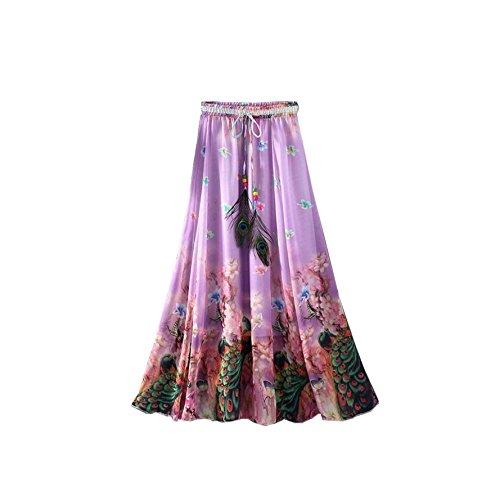 Longue Jupe Femmes Maxi Skirt de Violet Long bohmien t Plage Taille Paon Plume fte lastique Kaxuyiiy gBaxwTc7qT