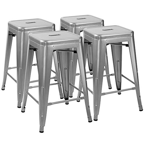 Furmax 24 Inches Metal Bar Stools High Backless Indoor-Outdoor Counter Height Stackable Stools Set of 4(Silver) (Bistro Set 30')