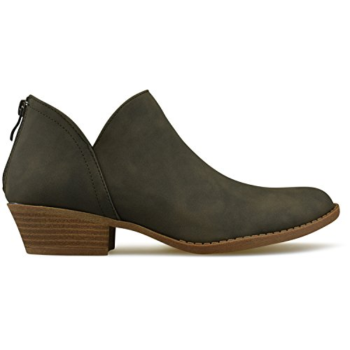 Premier Women's Closed Comfortable Bootie Panel Walking Ankle Side Heel Shoe Olive Casual �C Green Boot Low Elastic Standard Toe frqgAwf
