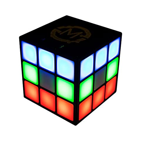 MOBI 70223 Cube 2 Portable Bluetooth Speaker with 4 Sided LED Light Show (Black) (Light Pulse Cable Aux)