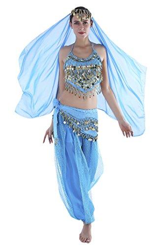 Seawhisper Womens Belly Dancer Outfit Genie Costumes Adult Jasmine Pants Top -