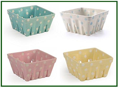 yellow ceramic berry basket - 2