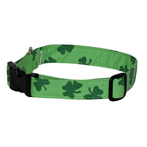 Elmo's Closet Bold Shamrocks Light Green Dog Collar (Large)