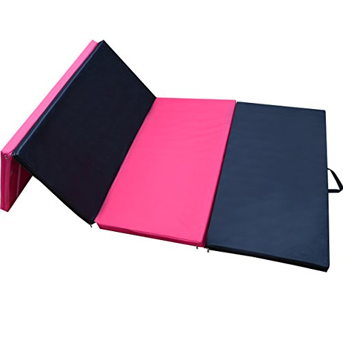 Strong Camel 4 Foldable Folding Panel Gym Gymnastics Exercise Yoga Mat Pad Black & pink Color (SIZE 4'x8'x2″)