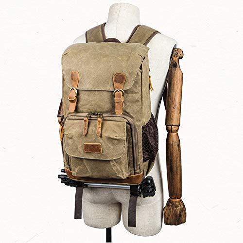 iSkylie Shoulder Photography Bag Canvas Shoulder Bag Camera Liner SLR Digital Package Pack Bag Lightweight Backpacks for Travel (Khaki, Free Size) (Drawstring Main Has Compartment)