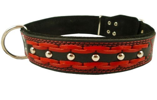 High Quality Genuine Leather Braided Studded Dog Collar, Red on Black 1.75″ Wide. Fits 22″-27″ Neck, Xlarge., My Pet Supplies
