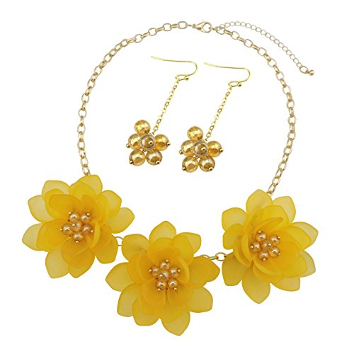 Bocar Bib Statement Pendant Flower Jewelry Set Necklace and Earrings for Women Gift (NK-10372-yellow)