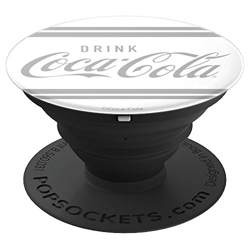 Coca-Cola Drink Coca Cola Vintage Gray Striped Logo - PopSockets Grip and Stand for Phones and Tablets