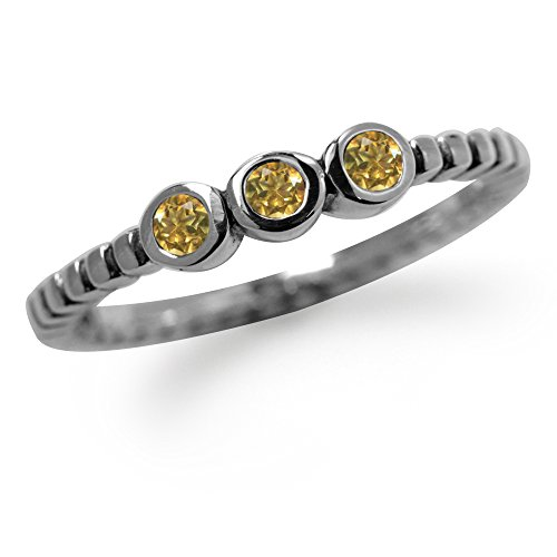Citrine 925 Silver Ring - 3-Stone Natural Citrine 925 Sterling Silver Stack/Stackable Ring Size 9