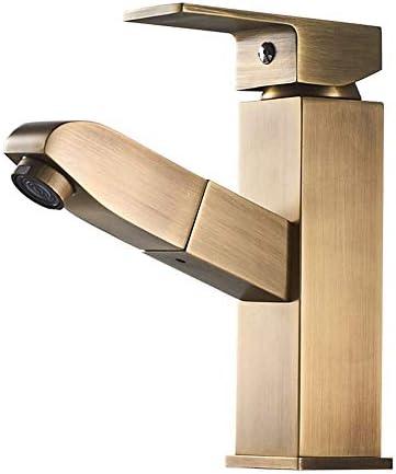 キッチン水栓 オイルこすりブロンズシングルハンドルワンホール滝浴室の虚栄心蛇口プルダウン浴室の蛇口ハイエンドバスルーム備品 キッチンとバスルームに適しています (Color : Brass, Size : Free size)