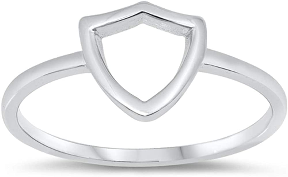 Princess Kylie Rhodium Plated 925 Sterling Silver Open Shield Ring