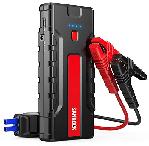 Car Jump Starter, SANROCK Car Battery Charger (8.0L Gas/6.5L Diesel) - 2000A Peak 16000mAh 12V Super Safe Booster Power Pack,Type-C Port, Dual Quick USB Ports, Smart Jumper Cables