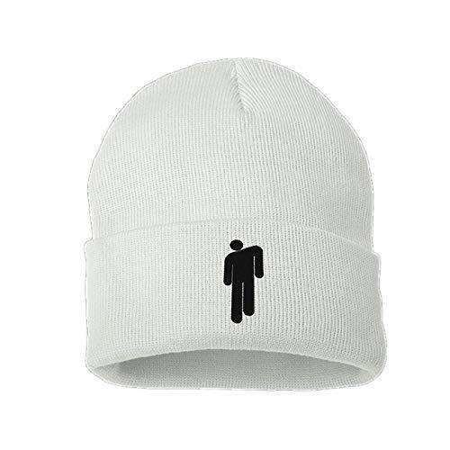 Billie Eilish Merch Hot Topic Logo Beanie Knit Hat Stretchy Cap for Men Women (White)