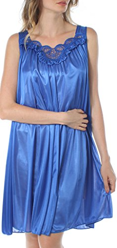 Venice Womens' Silky Looking Embroidered Nightgown 06N 3X-Large (Embroidered Sleepshirt)