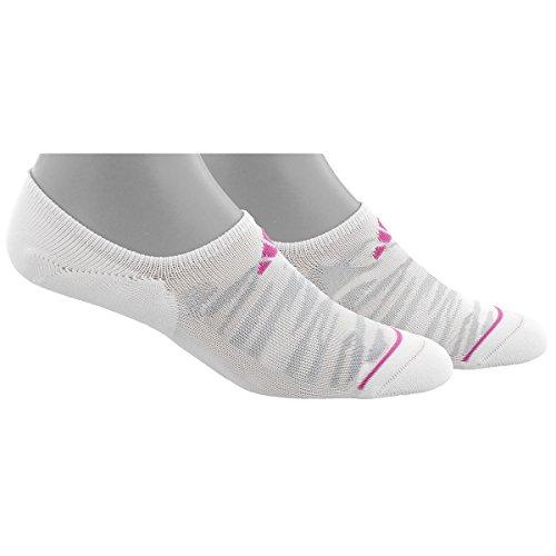 adidas Womens Superlite Prime Mesh Super No Show Socks (2-Pack), White/Clear Grey/Mono Pink, Medium