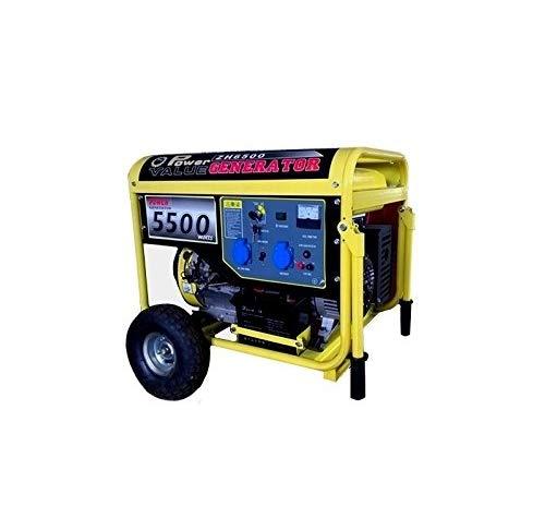 Generador de corriente 5500 W, 220 V con arranque eléctrico con ruedas: Amazon.es: Iluminación