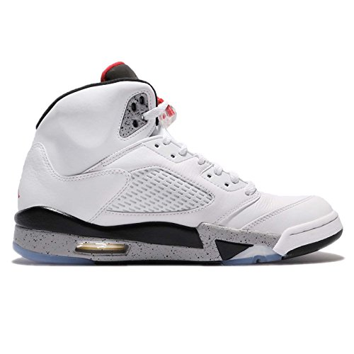 Nike Jordan Mens Air Jordan 5 Scarpa Da Basket Retrò Bianco Università Rosso Nero