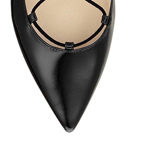 cordones zapatos Kolnoo Mujer con negro nRgY7gx