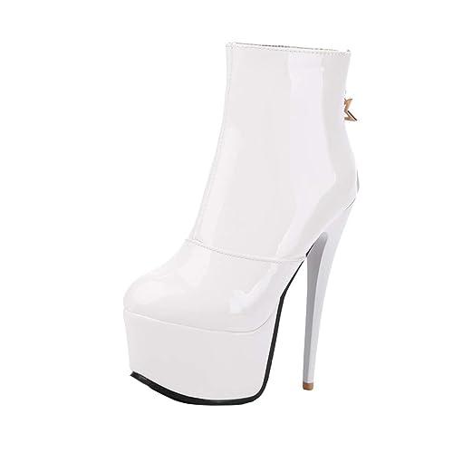 YE Botte Courte Ankle Boots Bottines Femme Sexy Vernis Plateforme Cuir Talon  Haut Aiguille pour Chaussure Zip  Amazon.fr  Chaussures et Sacs 9241367e4917