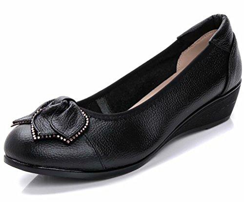 Women's Genuine Leather Comfort Low-Heeled Wedge Pump Pump US Size 8 Black by Sketo