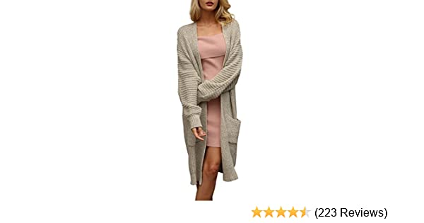 4d1f20a073f1bd Simplee Women s Casual Open Front Long Sleeve Knit Cardigan Sweater Coat  with Pockets