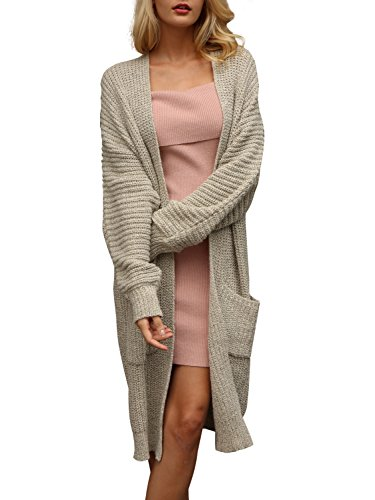 Simplee Women's Casual Open Front Long Sleeve Knit Cardigan Sweater Coat with Pockets, Apricot, One Size, 1 (Knitted Cardigan)
