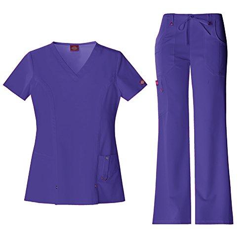 Dickies Xtreme Stretch Women's V-Neck Top 82851 Extreme Stretch Drawstring Pant 82011 Scrub Set (Grape - Medium/Small (Vents Logo Set)