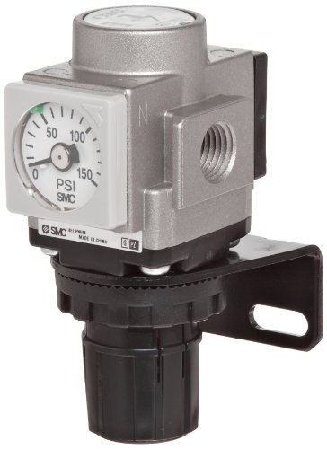 (SMC AR40K-N04E-Z Regulator, Relieving Type, with Backflow Function, 7.25 - 123 psi Set Pressure Range, 106 scfm, Square Embedded Gauge, 1/2