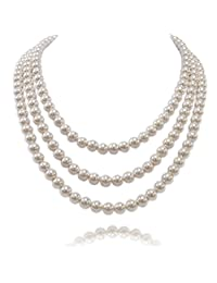 Kalse 3 Strands 4mm Simulated Pearl Choker Chunky Bib Necklace 17 18 19 inch