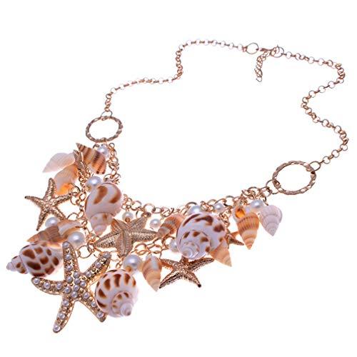Kacon Fashion Sea Shell Starfish Faux Pearl Collar Bib Statement Chunky Necklace -