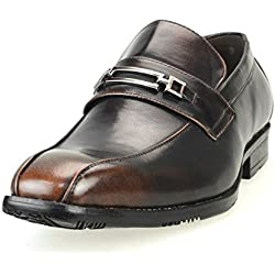 MM/ONE Mens Slip on Shoes for Men Bicycle Toe Bike Toe Oxford Shoes Dress shoes Formal Dark Brown 40 EU (US Men's 8 M)