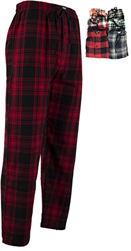 American Active Men's 3 Pack Cotton Flannel Pajama Sleep Lounge Pants (Medium 32-34, 3 Pack - Classics Flannel Winter Red Assorted Plaids)