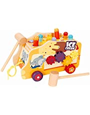 Hammering-Pounding Toys 4 in 1 Wooden Pounding Bench Ice Cream Wooden Push Pull Toy with Gears and Slidings Birthday Gift for 1 2 3 Years Old Boy Girl Baby Toddler Kids