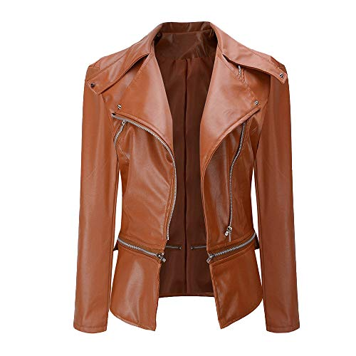 (AUSZOSLT Women Faux Leather Jacket Slim Punk Bomber Casual Zipper Short Coat Brown)