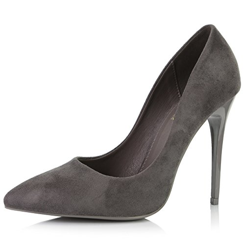 Heel Stiletto Pointed High (DailyShoes Women's Classic Fashion Stiletto Pointed Toe Pairs-01 High Heel Dress Pump Shoes -Perfect for Formal and Dinner Wear, Grey Suede, 7 B(M) US)