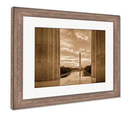 Ashley Framed Prints Brilliant Sunrise Over Reflecting Pool Dc, Wall Art Home Decoration, Sepia, 26x30 (Frame Size), Rustic Barn Wood Frame, AG5580154
