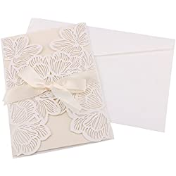 DriewWedding 20PCs Laec Wedding Party Invitation Cards, Hollow Greeting Invites Cards with Kraft Paper Inner Sheet, Envelopes & Hemp Rope Seals … (Snow White)
