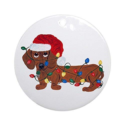 Red Dachshund Ornaments - Dachshund (Red) Tangled in Christmas Ornaments Round Ceramic Christmas Tree Hanging Ornaments Decoration Xmas Gifts Ornaments
